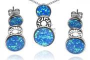 Zdjęcie do ogłoszenia: Biżuteria srebrna Komplet z niebieskim opalem