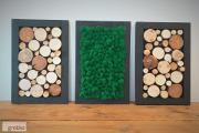 Zdjęcie do ogłoszenia: Obraz tryptyk mech chrobotek, plaster drewna, panel, ramka, wysyłka