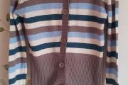 Zdjęcie do ogłoszenia: Rozpinany sweter kardigan Troll XS 34 S 36 paski wełna guziki kolory z